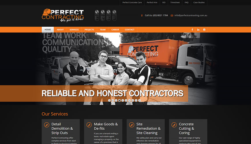 Perfect Contracting website